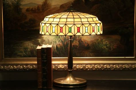 SOLD - Brass Antique 1915 Lamp, Stained Leaded Glass Shade
