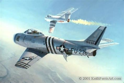 First Swept Wing Encounter By Keith Ferris F-86: Mig
